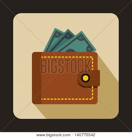Purse with money icon in flat style with long shadow. Finance symbol