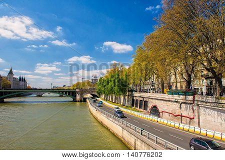 Around Seine river in April - Paris