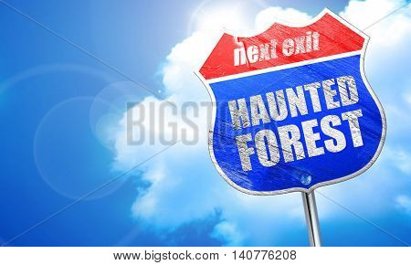 haunted forest, 3D rendering, blue street sign