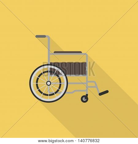 Wheelchair closeup. Wheelchair medical icon. Wheelchair vector illustration