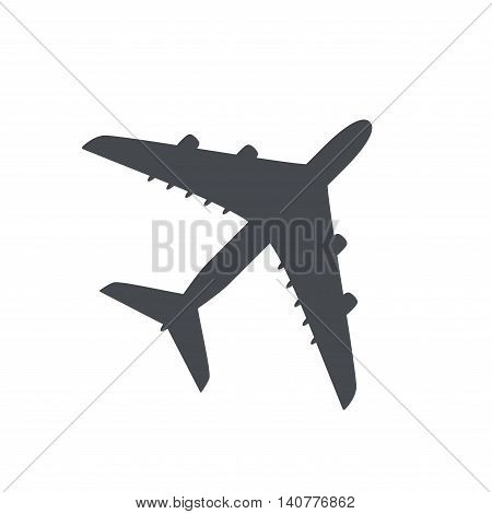 Passenger plane isolated on white background. Plane top view. Plane flat icon