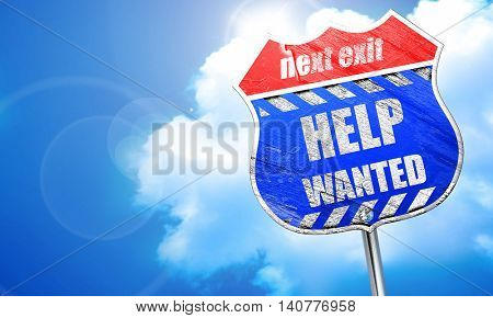 Help wanted sign, 3D rendering, blue street sign