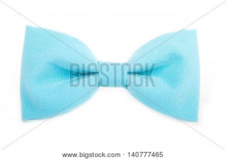 Blue Bow Tie Accessory For Respectable People On An Isolated Whi