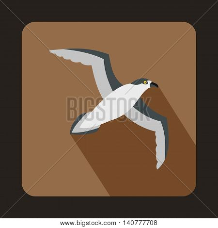 Seagull icon in flat style with long shadow. Bird symbol