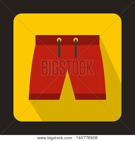 Mens shorts icon in flat style with long shadow. Clothing symbol