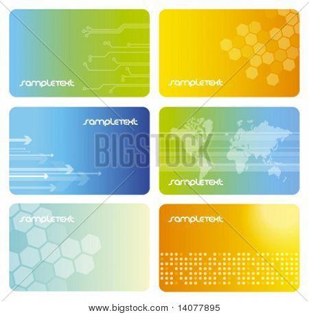 Conjunto de cartões de visita coloridos