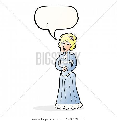 cartoon shocked victorian woman with speech bubble