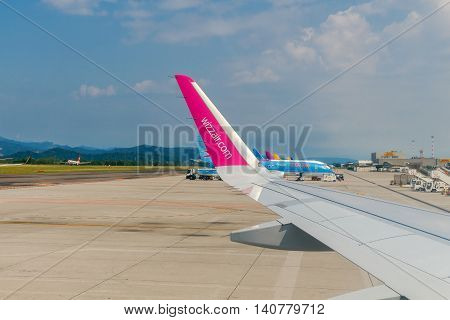 Bergamo, Italy - July 31, 2016: Wizz Air company aircraft at Bergamo airport. The company offers one of the Wizz Air inexpensive flight to Europe. The company flies to 29 countries.