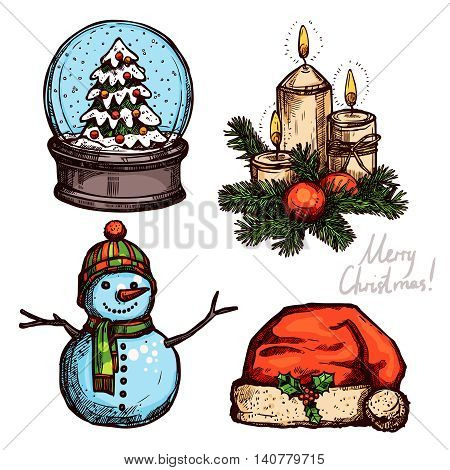 Christmas Color Set With Holiday Objects. Snowglobe, Santa's Hat, Christmas Candles And Snowman