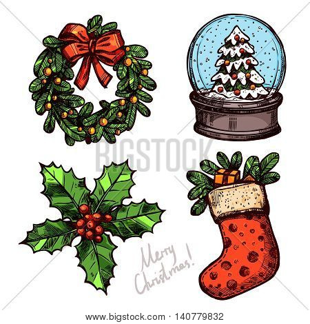 Christmas Color Sketch Set With Holiday Objects. Christmas Wreath, Holly, Sock With Gifts, Snowboll With Christmas Tree