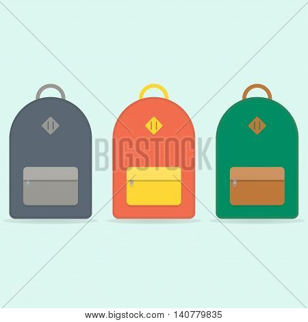 Blue, orange, green backpack. School backpack. Backpack isolated on blue background