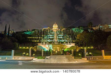 The evening illumination of the UNESCO square lower Bahai Gardens and Shrine located on the Carmel Mount Haifa Israel.