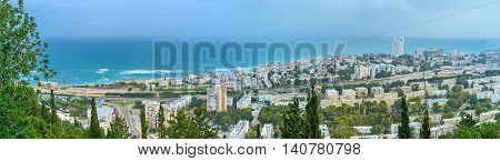 The Mediterranean coast of Haifa The popular resort among locals and tourists Israel.