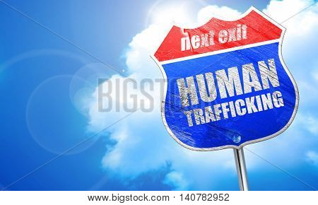 human trafficking, 3D rendering, blue street sign