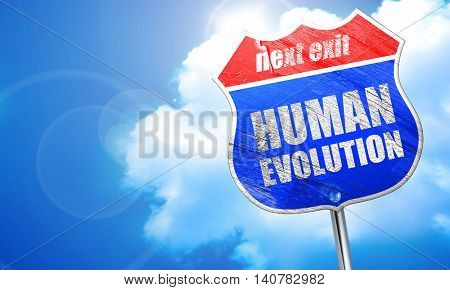 human evolution, 3D rendering, blue street sign