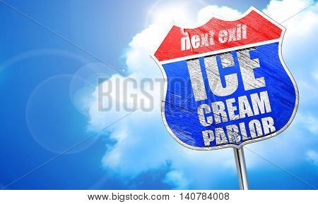ice cream parlor, 3D rendering, blue street sign