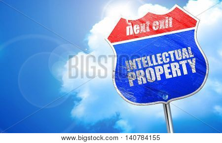 intellectual property, 3D rendering, blue street sign