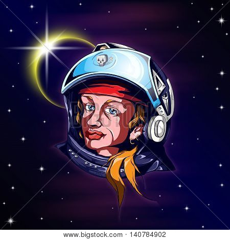 Head shot of woman astronaut in helmet against starry skies and solar eclipse. Vector illustration 10 EPS