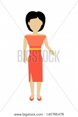 Female character without face in red dress vector in flat design. Woman template personage figure illustration for woman concepts, fashion app, logos, infographic. Isolated on white background.