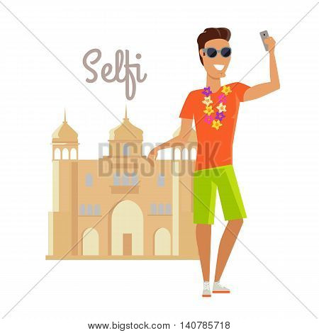 Summer vacation in India concept. Journey in exotic countries vector illustration. Selfie on the background of famous historical monuments. Young man taking pictume near asian building. Flat Design.