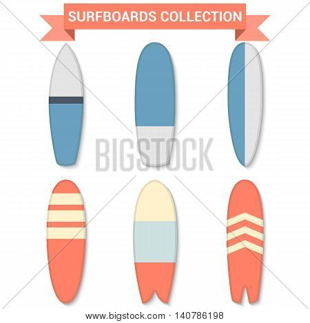 Vector retro surfboards isolated on white background. Surfboards icon. Surfboards design. Surfboards collection