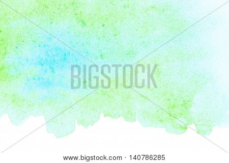 Green Colorful Watercolor background for your design. Abstract hand drawn template with rough edges. Painted texture with watercolour stain.