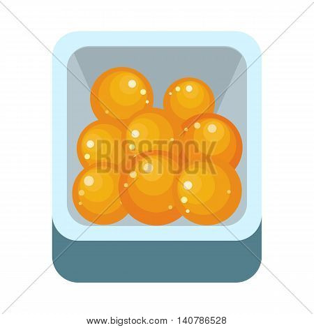 Pile of ripe orange in plastic box. Juicy fresh orange. Tropical fruit. Orange fruit icon. Healthy food element. Orange icon in flat. Isolated vector illustration on white background.