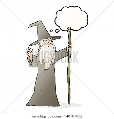 cartoon old wizard with thought bubble