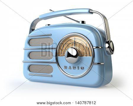 Blue vintage retro radio receiver isolated on white. 3d illustration