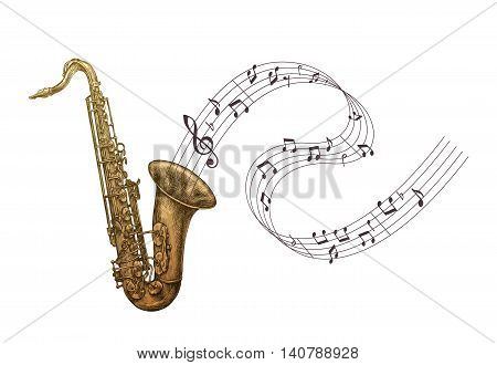 Saxophone music, jazz vector illustration. Sax isolated