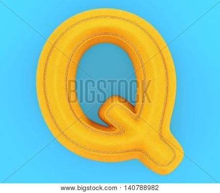 Leather Yellow Texture Letter Q