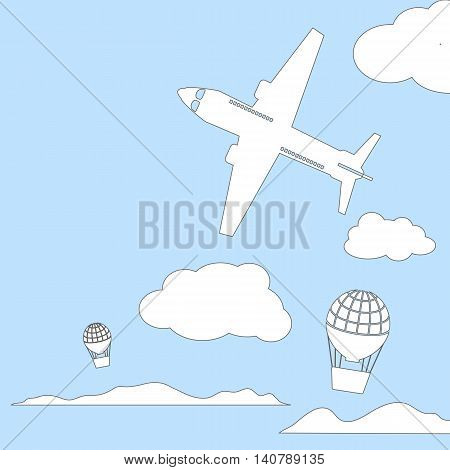 Aircraft and air balloons in the cloudy sky vector illustration with place for text. White outlined silhouette of air craft. Coloring page or book cover. Summer travel banner template, card background
