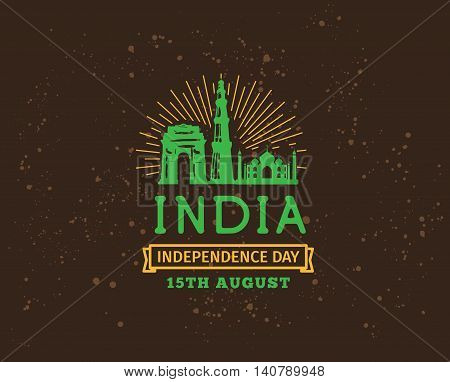 India Independence day, 15th august. Vector typographic emblem, logo or badge. Usable for greeting cards, print, t-shirts, posters.