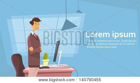 Business Man Office Workplace Desktop Working Place Flat Vector Illustration