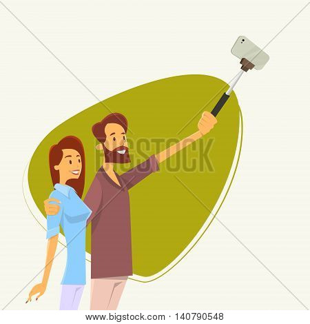Couple Man Woman Taking Selfie Photo On Smart Phone With Stick Vector Illustration