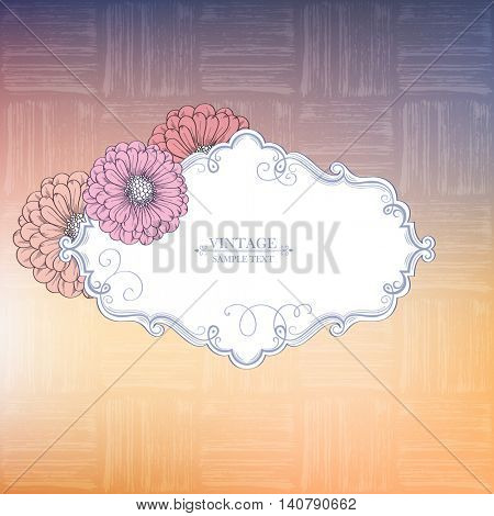 Vintage frame with flowers zinnias. Calligraphic hand drawn vector element for design. Vector illustration.