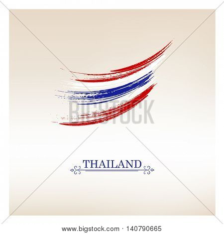 Abstract hand painted flag of Thailand. Vector element for design.
