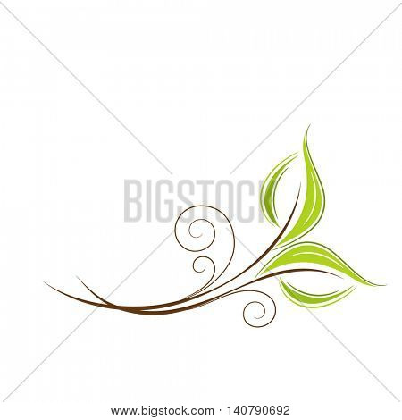 Stylish abstract background with green leaves. Element for design. Vector illustration.