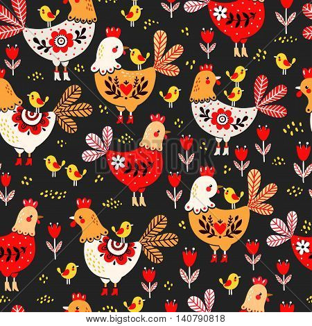 Vector illustration of a rooster hens and chickens on a black background. Animal pattern. Domestic bird.
