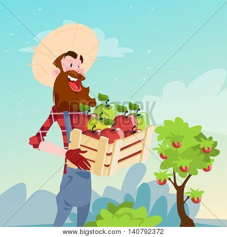 Farmer Hold Box With Apple Garden Fruit Harvest Flat Vector Illustration