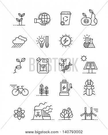 set of minimalistic ecology icons