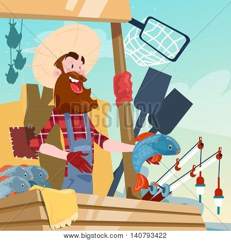 Farmer Sell Fresh Fish Eco Farm Organic Market Flat Vector Illustration