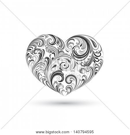 Abstract floral vintage heart. Vector element for design.