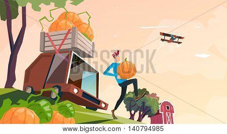 Farm Pumpkin Harvest Transportation Lorry Carrying Vegetables Flat Vector Illustration
