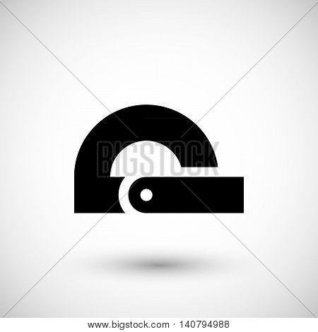 Modern protractor icon isolated on grey. Vector illustration