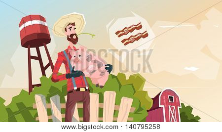 Farmer Hold Pig Pork Butcher Animal Farm Flat Vector Illustration