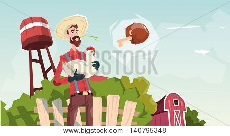 Farmer Hold Chicken Breeding Hen For Food Farm Flat Vector Illustration
