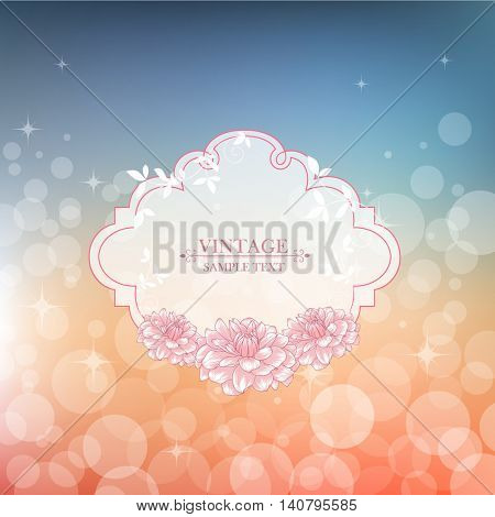 Vintage floral abstract hand drawn frame with flowers dahlias. Element for design. Vector illustration.