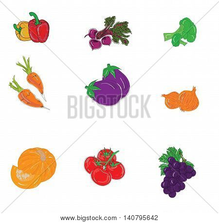 set of useful vegetables in the background. vector illustration