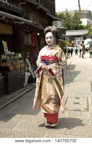 Kyoto, Japan, June 14 , 2016 - Japanese women with make up wearing a Kimono in Kyoto, Japan